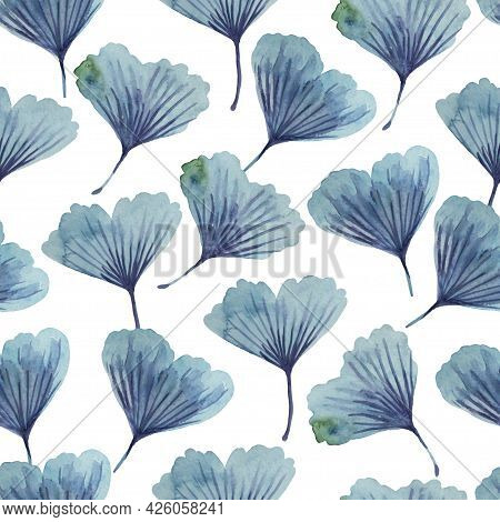Watercolor Seamless Regular Texture With Ginkgo Biloba Leaves. Abstract Hand Drawn Print.