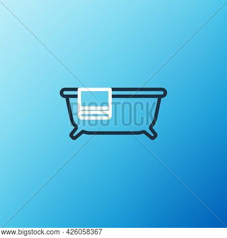 Line Bathtub Icon Isolated On Blue Background. Colorful Outline Concept. Vector