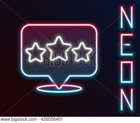 Glowing Neon Line Five Stars Customer Product Rating Review Icon Isolated On Black Background. Favor
