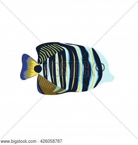 Cartoon Illustrations Of Butterflie Fish Isolated On White Background.