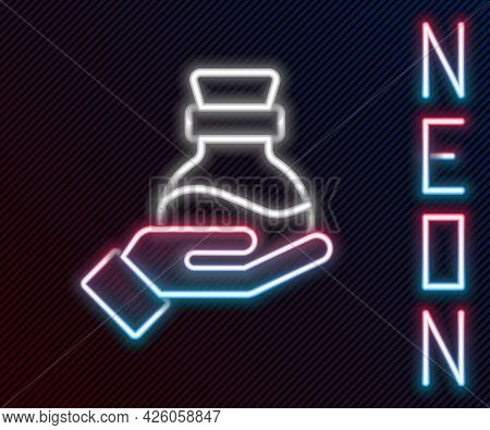 Glowing Neon Line Bottle With Potion Icon Isolated On Black Background. Flask With Magic Potion. Hap