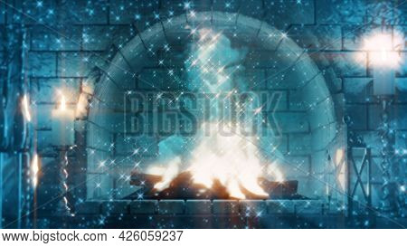 Fairytale Stone Hearth Fire Shining - Cgi Object 3d Illustration