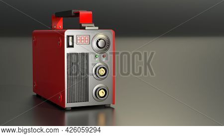 Red Inverter Arc Welding Device, Fictitious Cgi Industrial 3d Rendering