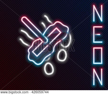 Glowing Neon Line Mop Icon Isolated On Black Background. Cleaning Service Concept. Colorful Outline