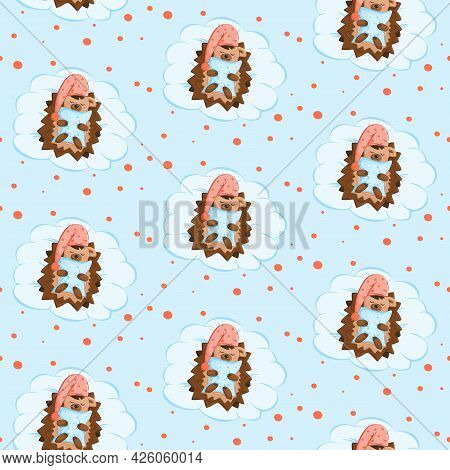 Pattern With A Cute Sleeping Hedgehog In A Cap. The Hedgehog Is Holding A Blue Pillow. Background To