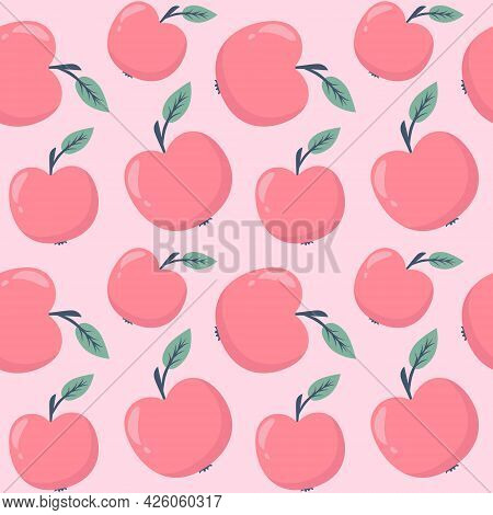 Continuous Pattern With Apples, Vector. Seamless Background With Fruits. Delicate Pattern With Apple