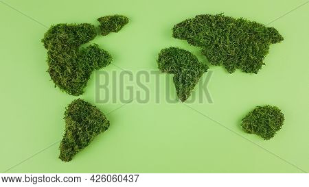 The Continents Are Made Of Natural Moss. Environmental Awareness Is Important