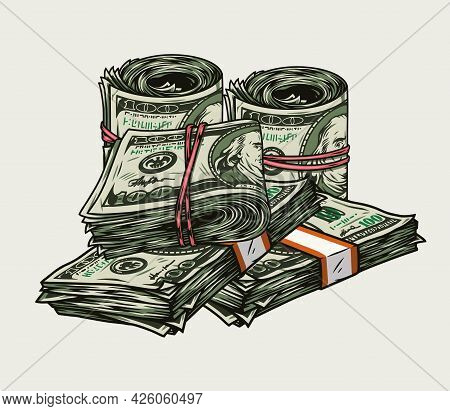 Money Pile Colorful Vintage Concept With Stacks And Rolls Of One Hundred Us Dollar Banknotes Isolate