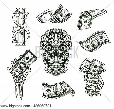 Money Vintage Monochrome Composition With One Hundred Dollar Bills Skeleton Hands With Cash Notes An