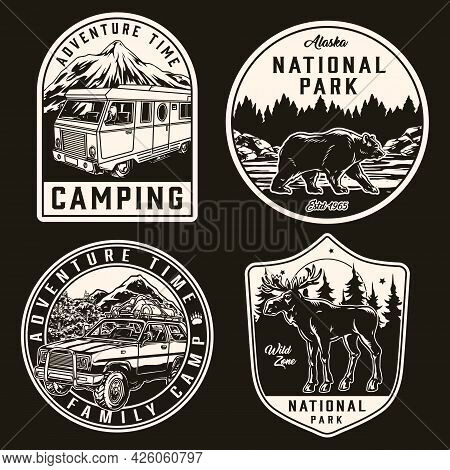 Summer Recreation Vintage Monochrome Labels With Motorhome Travel Car Walking Bear And Moose Isolate
