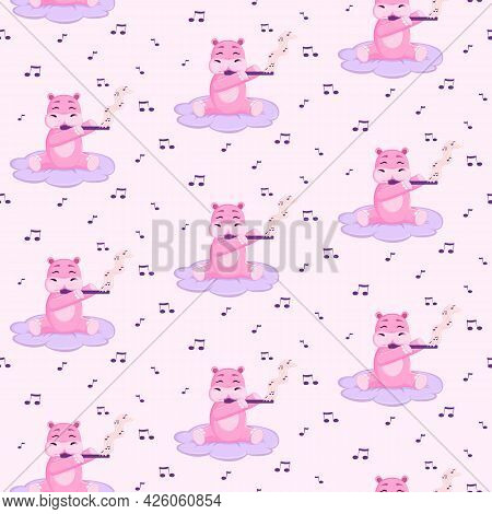 Pattern With Cute Pink Hippo. Hippo Plays The Flute. White Background. Notes. Cartoon Style. Seamles