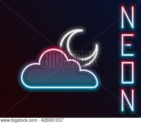 Glowing Neon Line Cloud With Moon Icon Isolated On Black Background. Cloudy Night Sign. Sleep Dreams