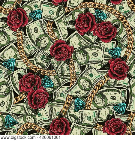 Money Colorful Vintage Seamless Pattern With One Hundred Dollar Bills Rose Flowers Diamonds And Gold