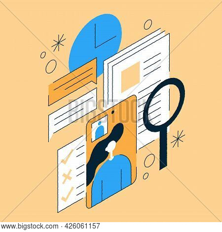 Job Recruiting Isometric Illustration Online Interview, Cv Applying. Female Candidate Answering To Q