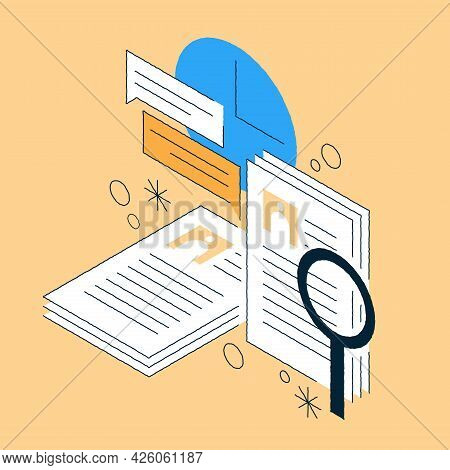 Job Recruiting Isometric Illustration Huge Stack Of Paper Candidate Cv For Searching Staff. Hand Dra