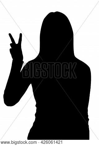 Woman Silhouette Showing Victory Sign. Victoria Is A Common V-shaped Gesture For Victory Or Peace, 3