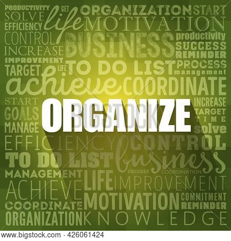 Organize Word Cloud Collage, Business Concept Background