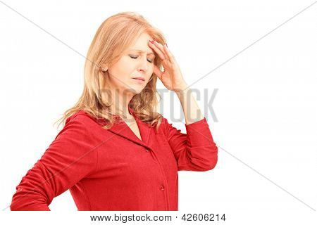Mature woman having a headache isolated on white background