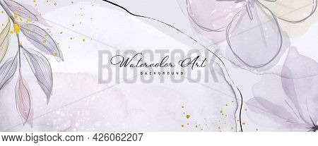 Abstract Art Watercolor Purple Flower Botanical And Gold Glitter For Nature Banner Background. Water