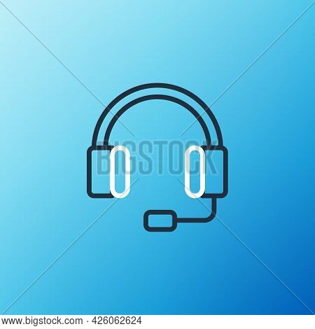 Line Headphones Icon Isolated On Blue Background. Earphones. Concept For Listening To Music, Service