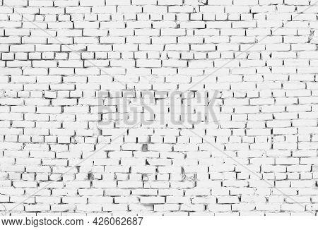 White Grunge Brick Wall Background. Painted Texture