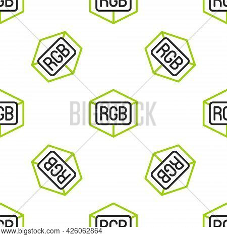 Line Rgb And Cmyk Color Mixing Icon Isolated Seamless Pattern On White Background. Vector