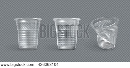 Plastic Cups, Crumpled And Full Of Water Disposable Mugs Isolated On Transparent Background. Crumple