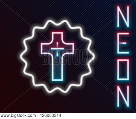 Glowing Neon Line Christian Cross Icon Isolated On Black Background. Church Cross. Colorful Outline