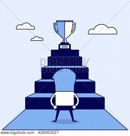 Businessman Standing In Front Of Stair That Leads The Trophy, Shortcut To Success. Cartoon Character