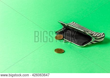 Open Wallet And Two Coins On A Green Background. Poverty Concept. Below The Poverty Line.