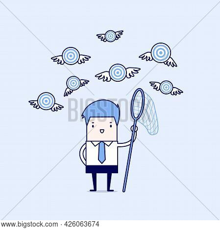 Businessman Try To Catch Flying Target. Cartoon Character Thin Line Style Vector.