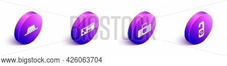 Set Isometric Man Hat With Ribbon, Airline Ticket, Suitcase And Please Do Not Disturb Icon. Vector