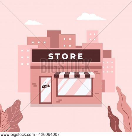 Store Shop Or Cafe Front Exterior Facade. Street Local Retail Shop Building In The City.