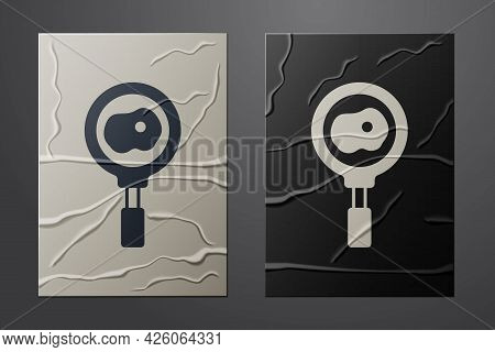 White Fried Eggs On Frying Pan Icon Isolated On Crumpled Paper Background. Fry Or Roast Food Symbol.