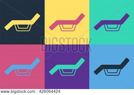 Pop Art Sunbed Icon Isolated On Color Background. Sun Lounger. Vector