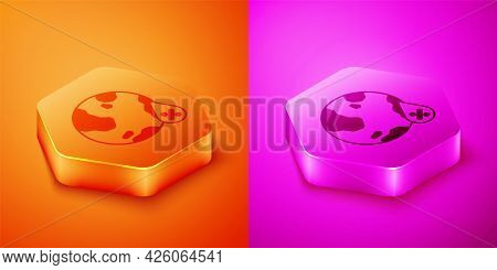 Isometric Water Drop Percentage Icon Isolated On Orange And Pink Background. Humidity Analysis. Hexa