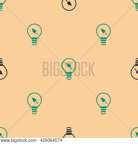 Green And Black Light Bulb With Leaf Icon Isolated Seamless Pattern On Beige Background. Eco Energy