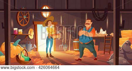 Farmers In Barn With Chickens, Straw And Pumpkins. Vector Cartoon Interior Of Wooden Shed With Hay S