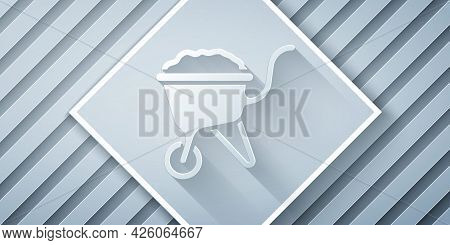 Paper Cut Wheelbarrow With Dirt Icon Isolated On Grey Background. Tool Equipment. Agriculture Cart W