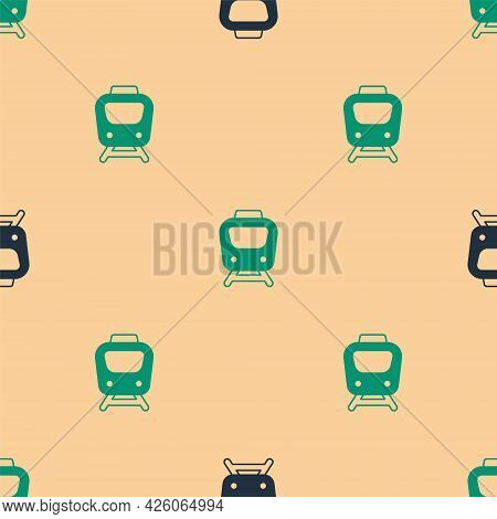 Green And Black Train Icon Isolated Seamless Pattern On Beige Background. Public Transportation Symb