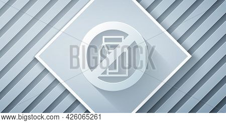 Paper Cut No Pack Of Milk Icon Isolated Paper Cut Background. Not Allow Milk. Allergy Concept, Lacto