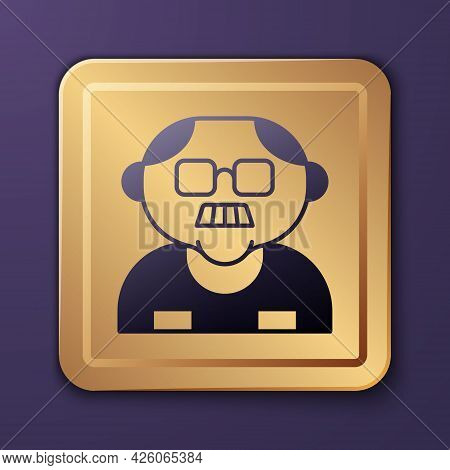 Purple Grandfather Icon Isolated On Purple Background. Gold Square Button. Vector