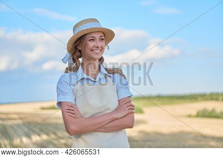 Woman Farmer Straw Hat Apron Standing Farmland Smiling Showing Thumb Up Sign Female Agronomist Speci