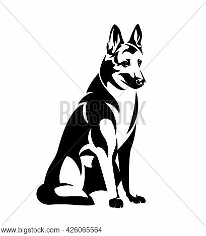 Sitting German Shepherd Or Belgian Malinois Dog Black And White Vector Outline Portrait