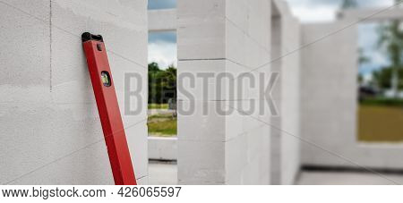 House Under Construction With Autoclaved Aerated Concrete Blocks. Banner