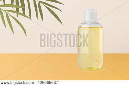 Tanning Oil Or Massage Oil Bottle Mockup Realistic Vector 3d Illustration On Beige Yellow Background