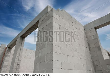 House Under Construction With Autoclaved Aerated Concrete Blocks
