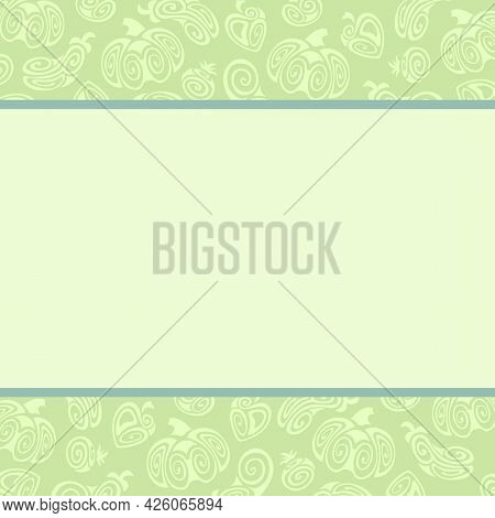He Illustration Is Made In Mint Flowers With Patterns Of Vegetables. Stylized Vegetables: Pumpkin, P