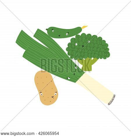 Vegetable Balance Print. Funny Veggies With Cute Faces In Vertical Stack.