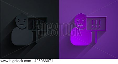 Paper Cut Protest Icon Isolated On Black On Purple Background. Meeting, Protester, Picket, Speech, B